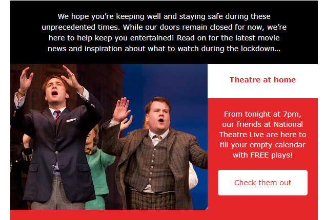 Cineworld email example