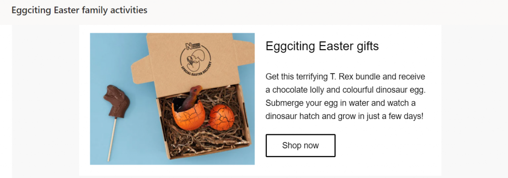 Natural History Museum Easter Email