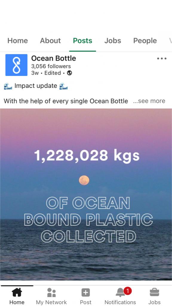 Ocean Bottle LinkedIn Post